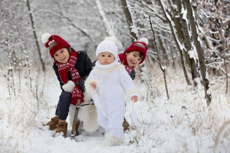 Χαριτωμένος λίγο αγόρι μικρών παιδιών και οι παλαιότεροι αδελφοί του, που παίζουν υπαίθρια με το χιόνι μια χειμερινή ημέρα στοκ εικόνες με δικαίωμα ελεύθερης χρήσης