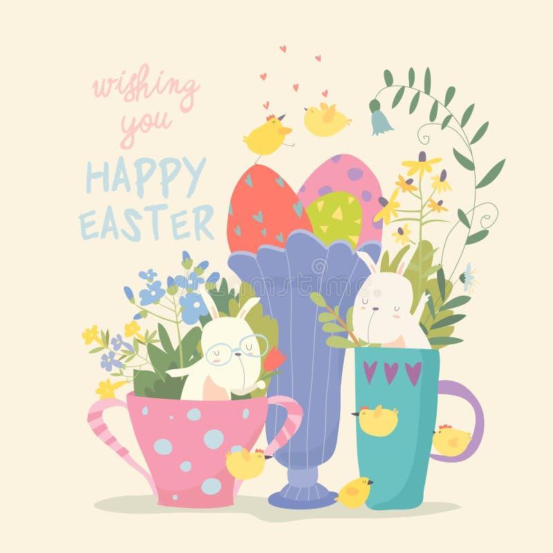 Χαριτωμένος λίγο λαγουδάκι σε ένα φλυτζάνι Κουνέλι σε μια κούπα με τα λουλούδια και τα αυγά διανυσματική απεικόνιση