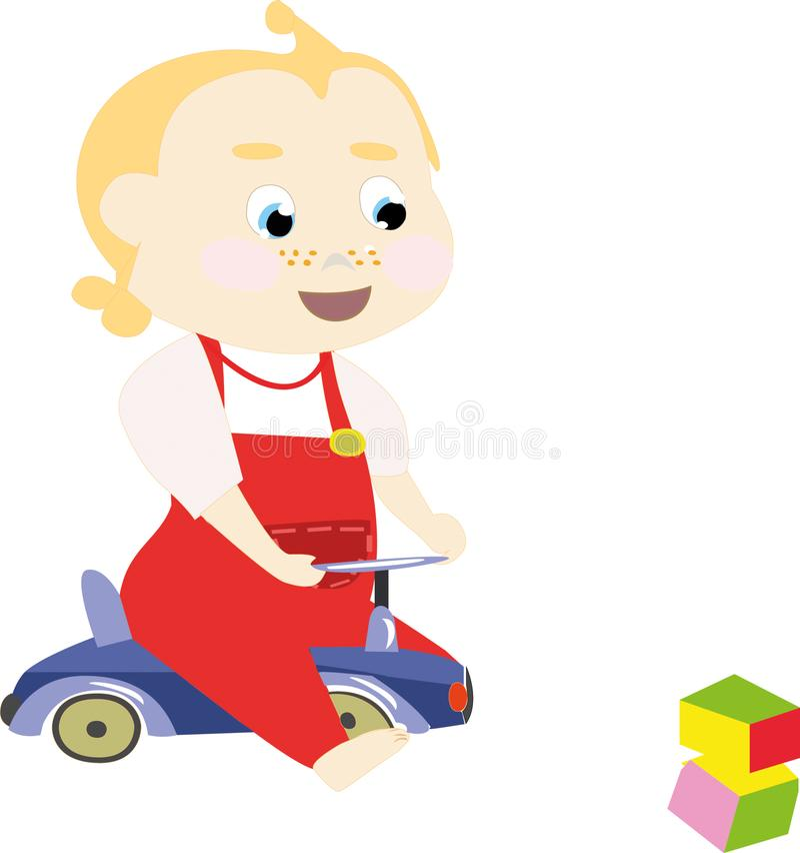 Χαριτωμένος λίγο μωρό σε ένα αυτοκίνητο παιχνιδιών και φωτεινούς κύβους διανυσματική απεικόνιση