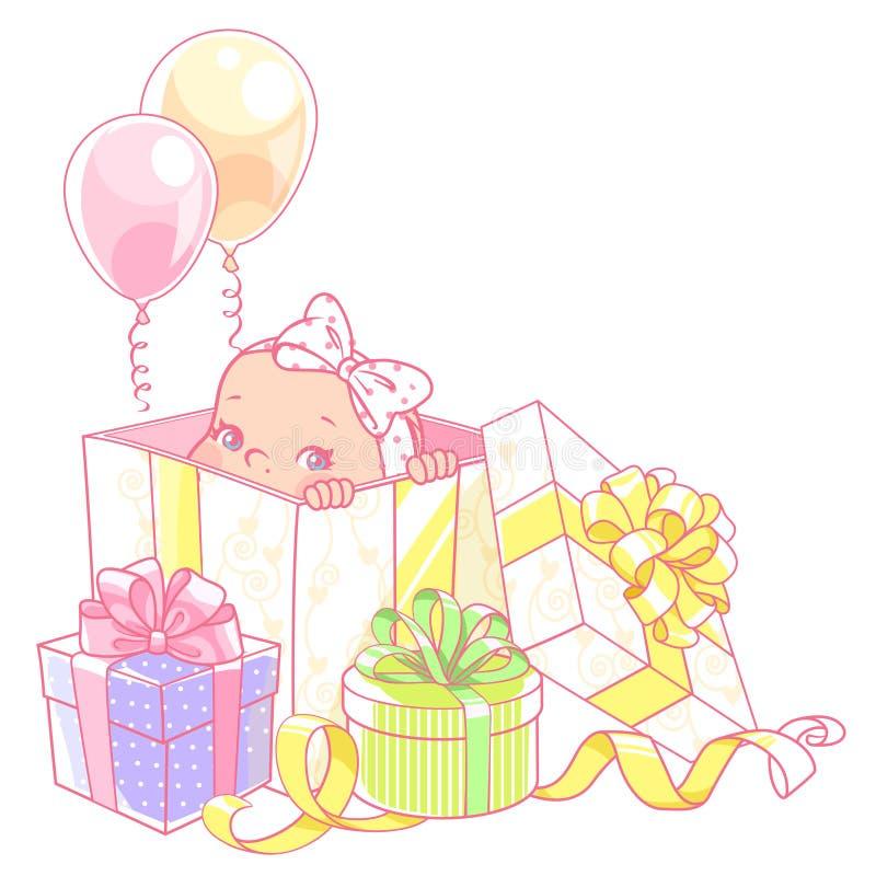 Χαριτωμένος λίγο μωρό σε ένα κιβώτιο δώρων απεικόνιση αποθεμάτων