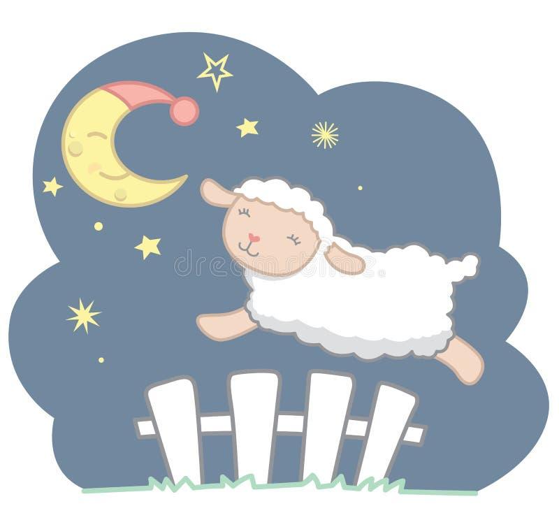 Χαριτωμένος λίγο πρόβατο ύφους Kawaii που πηδά πέρα από τον άσπρο φράκτη στύλων κάτω από το ημισεληνοειδές φεγγάρι με τη νύχτα ΚΑ διανυσματική απεικόνιση