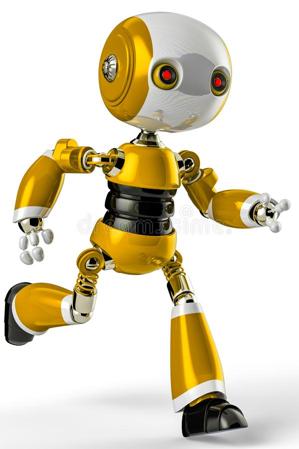 Χαριτωμένος λίγο ρομπότ σε ένα άσπρο υπόβαθρο ελεύθερη απεικόνιση δικαιώματος