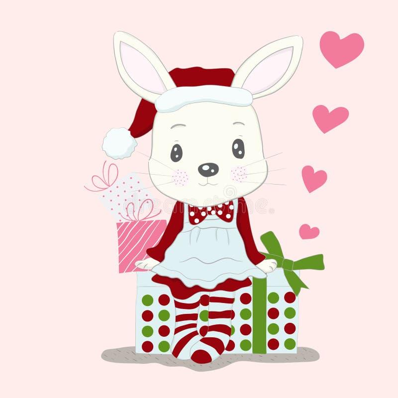 Χαριτωμένος λίγο φόρεμα Άγιος Βασίλης ένδυσης κινούμενων σχεδίων κουνελιών και κιβώτιο δώρων διανυσματική απεικόνιση