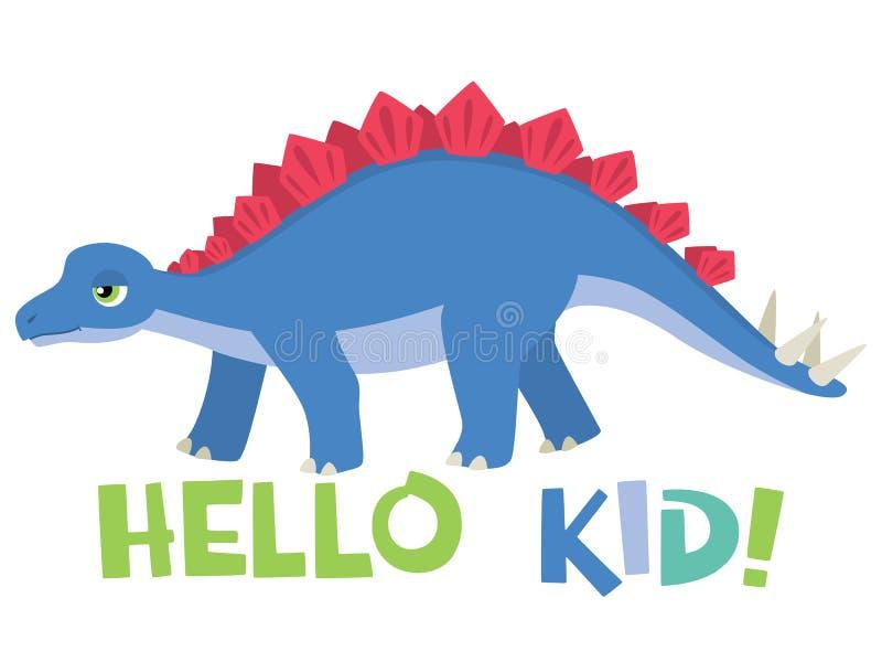 Χαριτωμένος λίγο Stegosaurus με γειά σου την εγγραφή παιδιών που απομονώνεται στην άσπρη διανυσματική απεικόνιση ελεύθερη απεικόνιση δικαιώματος