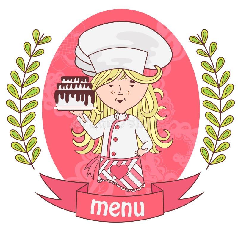 Χαριτωμένος μάγειρας αρχιμαγείρων κοριτσιών με το εύγευστο κέικ σε έναν δίσκο menu απεικόνιση αποθεμάτων