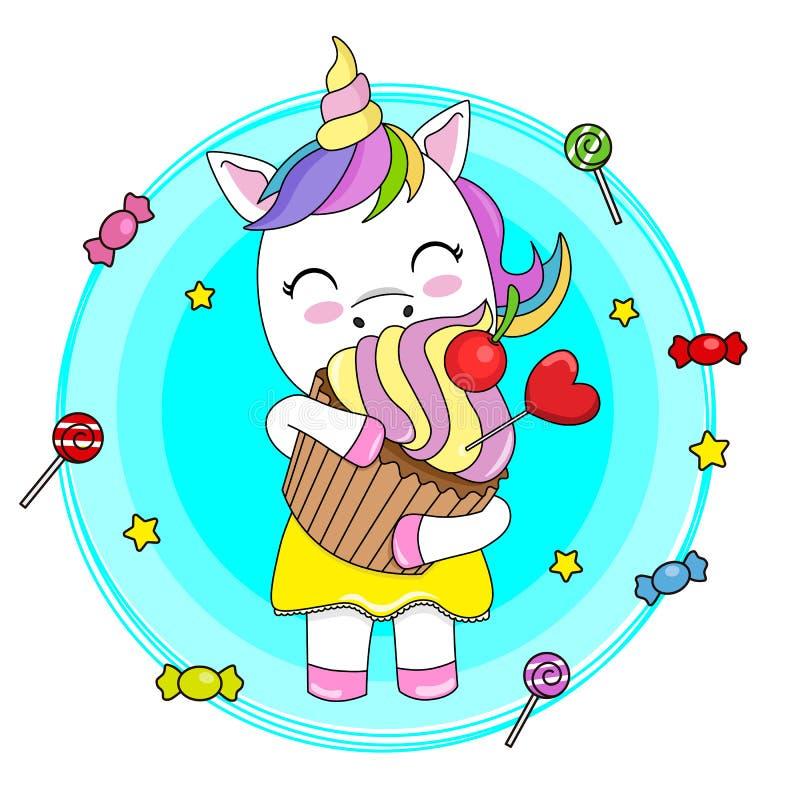 Χαριτωμένος μονόκερος με ένα cupcake απεικόνιση αποθεμάτων