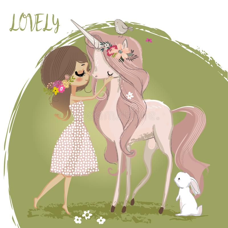 Χαριτωμένος μονόκερος με το κορίτσι ελεύθερη απεικόνιση δικαιώματος
