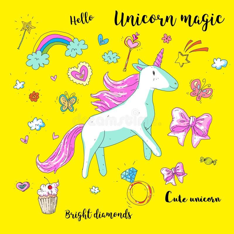 Χαριτωμένος μονόκερος φαντασίας Διανυσματική απεικόνιση με το ουράνιο τόξο, στοιχεία πριγκηπισσών, λουλούδια, καρδιές, διαμάντια  ελεύθερη απεικόνιση δικαιώματος