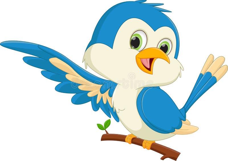 Χαριτωμένος μπλε κυματισμός κινούμενων σχεδίων πουλιών απεικόνιση αποθεμάτων