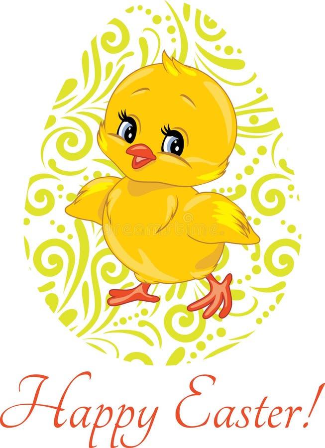 Χαριτωμένος νεοσσός χαμόγελου και διακοσμητικό αυγό Πάσχας ελεύθερη απεικόνιση δικαιώματος