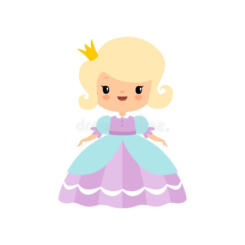Χαριτωμένος ξανθός λίγη πριγκήπισσα παραμυθιού στην όμορφη διανυσματική απεικόνιση κινούμενων σχεδίων φορεμάτων διανυσματική απεικόνιση