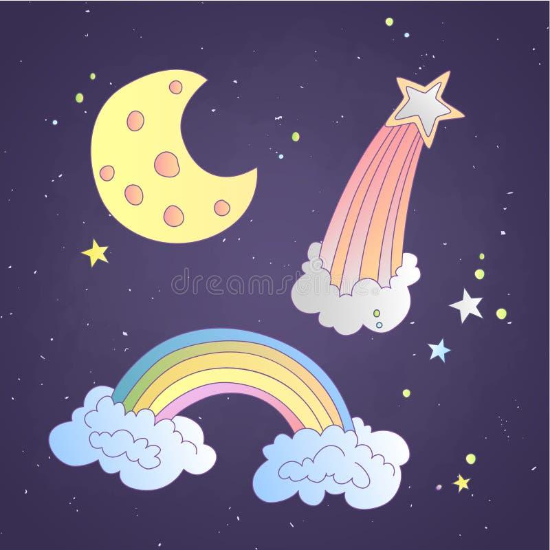Χαριτωμένος ουρανός κινούμενων σχεδίων και διαστημικό εικονίδιο, απεικόνιση Φεγγάρι, αστέρι και ουράνιο τόξο στα σύννεφα στο σκοτ διανυσματική απεικόνιση