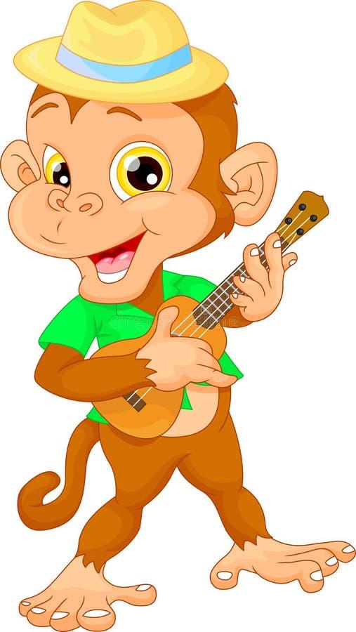 Χαριτωμένος πίθηκος με το ukulele (κιθάρα) απεικόνιση αποθεμάτων