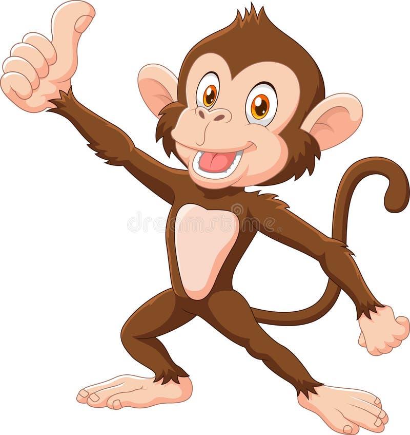 Χαριτωμένος πίθηκος που δίνει τον αντίχειρα που απομονώνεται επάνω στο άσπρο υπόβαθρο απεικόνιση αποθεμάτων
