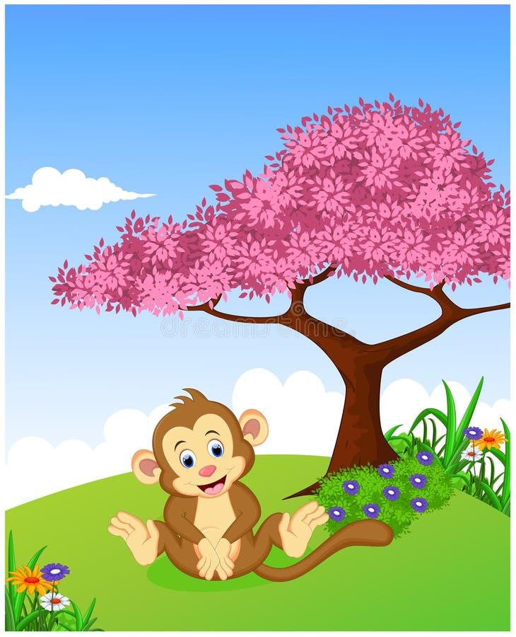 Χαριτωμένος πίθηκος στη ζούγκλα διανυσματική απεικόνιση