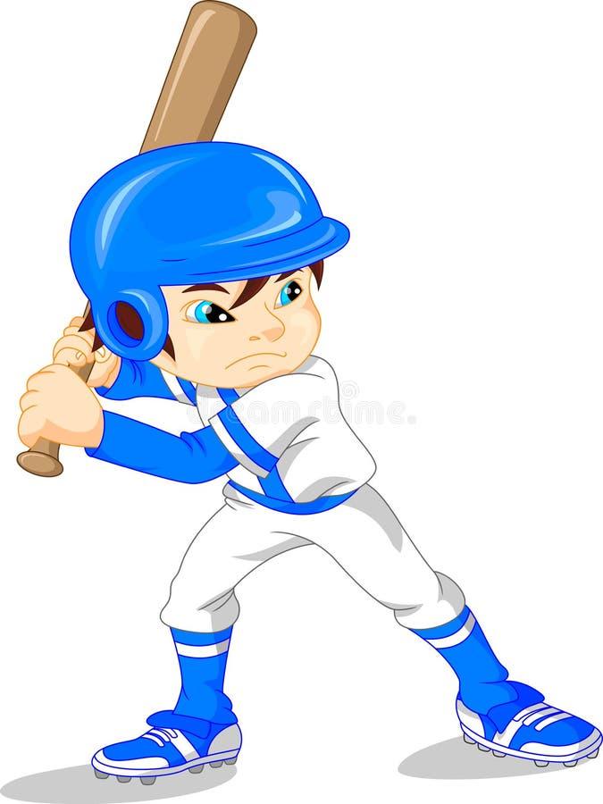 Χαριτωμένος παίχτης του μπέιζμπολ αγοριών ελεύθερη απεικόνιση δικαιώματος