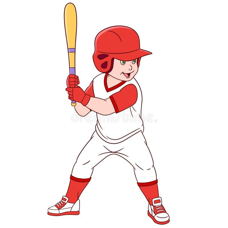 Χαριτωμένος παίχτης του μπέιζμπολ κινούμενων σχεδίων ελεύθερη απεικόνιση δικαιώματος