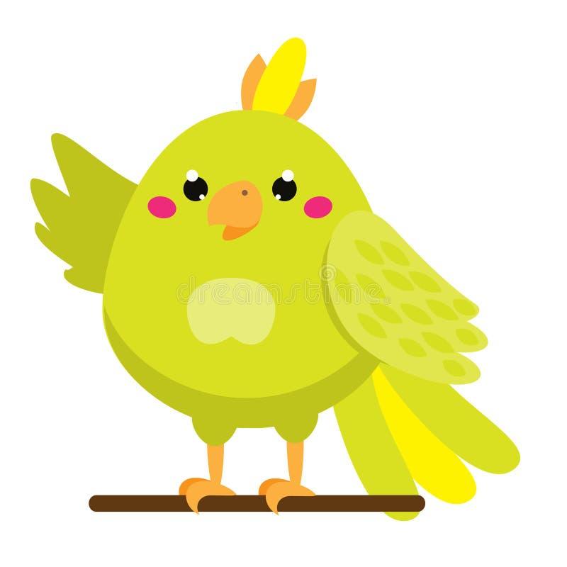 χαριτωμένος παπαγάλος Αφρικανικό και τροπικό ζώο κινούμενων σχεδίων Ύφος Kawaii διανυσματική απεικόνιση