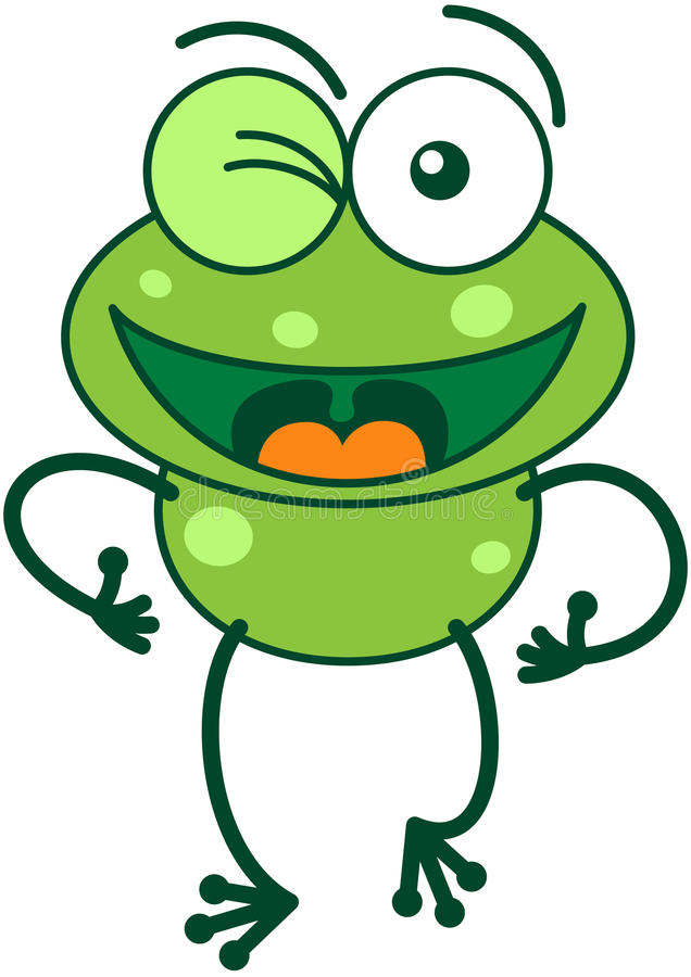 Χαριτωμένος πράσινος βάτραχος που κλείνει το μάτι ενθουσιωδώς απεικόνιση αποθεμάτων