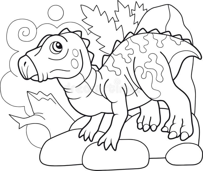 Χαριτωμένος προϊστορικός δεινόσαυρος iguanodon, χρωματίζοντας βιβλίο, αστεία απεικόνιση ελεύθερη απεικόνιση δικαιώματος