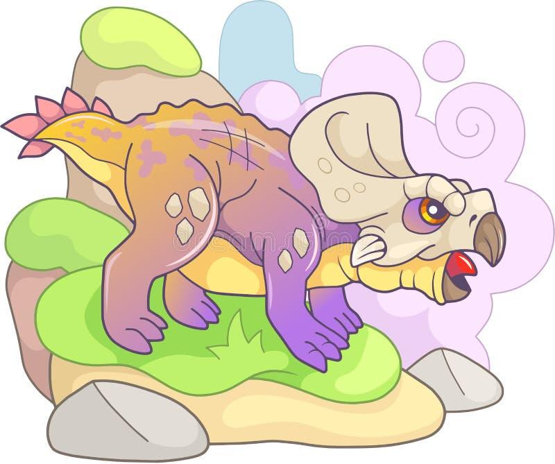 Χαριτωμένος προϊστορικός δεινόσαυρος protoceratops, αστεία απεικόνιση διανυσματική απεικόνιση
