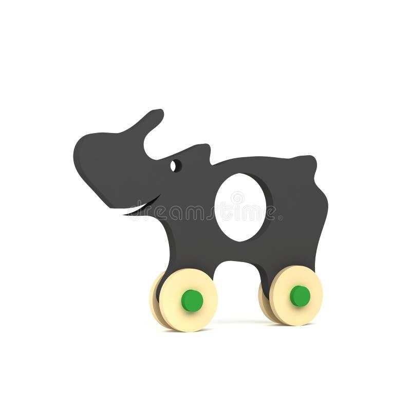 Χαριτωμένος ρινόκερος - ξύλινο παιχνίδι - που απομονώνεται στο άσπρο υπόβαθρο - τρισδιάστατη απόδοση απεικόνιση αποθεμάτων