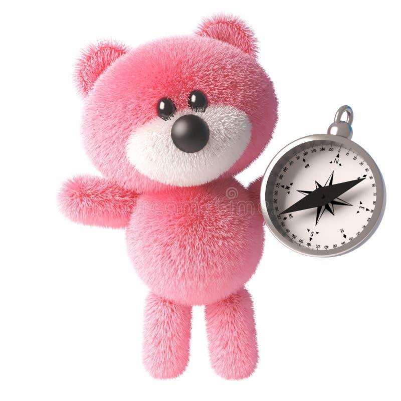 Χαριτωμένος ροζ 3δ χαριτωμένος αρκουδάκι μαλακός χαρακτήρας παιχνιδιού κρατώντας μια μαγνητική πυξίδα, 3δ απεικόνιση διανυσματική απεικόνιση