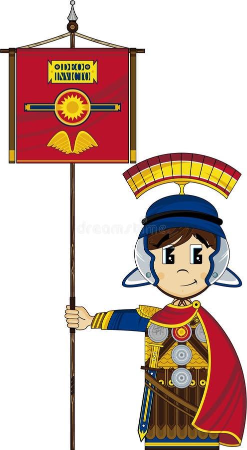Χαριτωμένος ρωμαϊκός στρατιώτης κινούμενων σχεδίων διανυσματική απεικόνιση