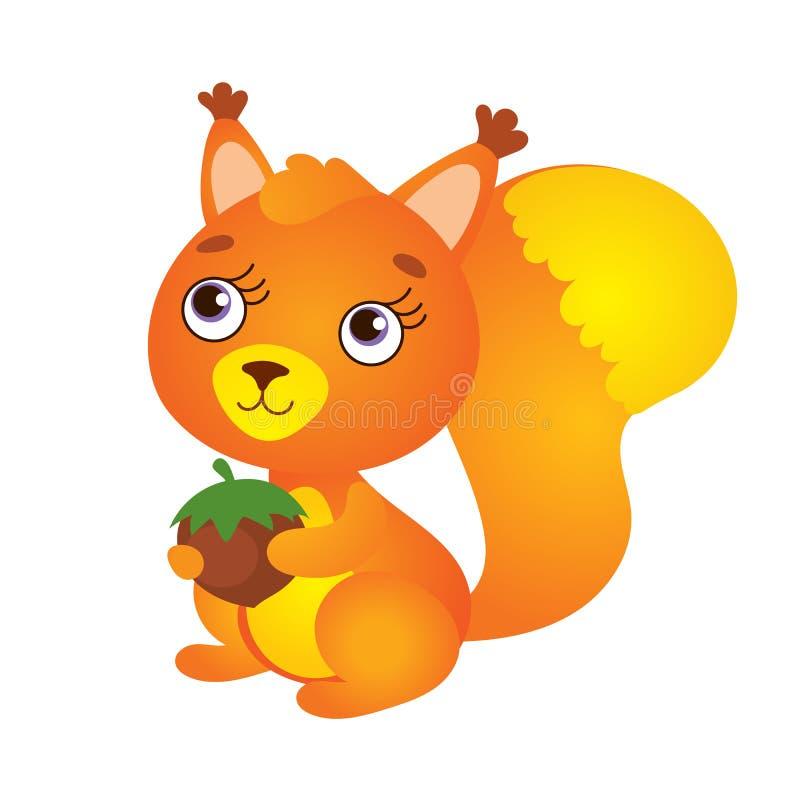 Χαριτωμένος σκίουρος με το καρύδι διανυσματική απεικόνιση