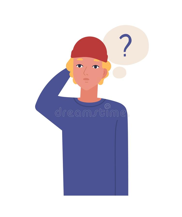 Χαριτωμένος σκεπτικός έφηβος που απομονώνεται στο άσπρο υπόβαθρο Αστείος στοχαστικός τύπος στο καπέλο και σκεπτόμενο μπαλόνι με διανυσματική απεικόνιση