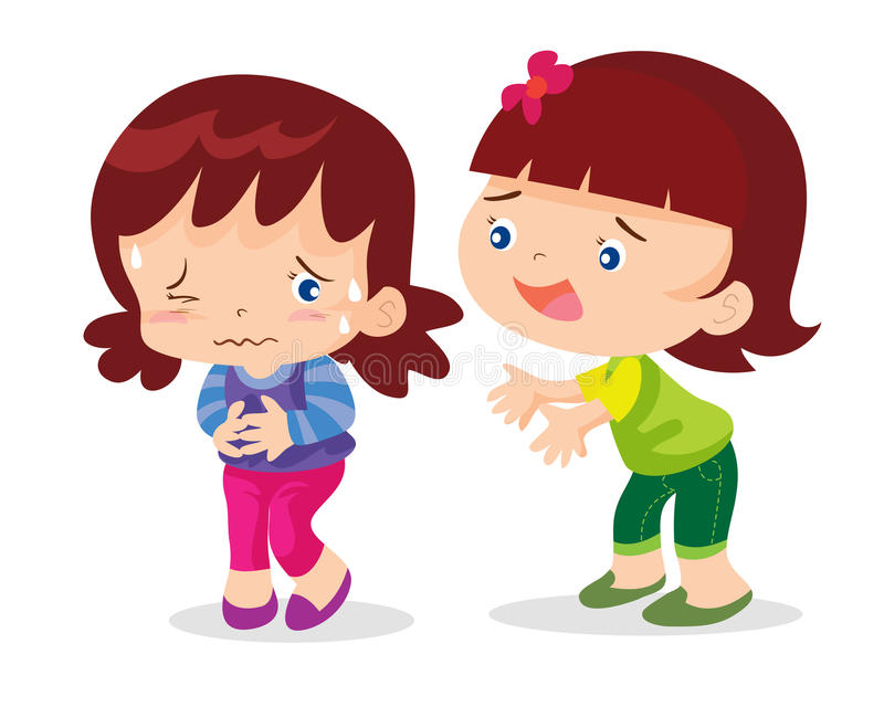 Χαριτωμένος στομαχόπονος κοριτσιών ελεύθερη απεικόνιση δικαιώματος