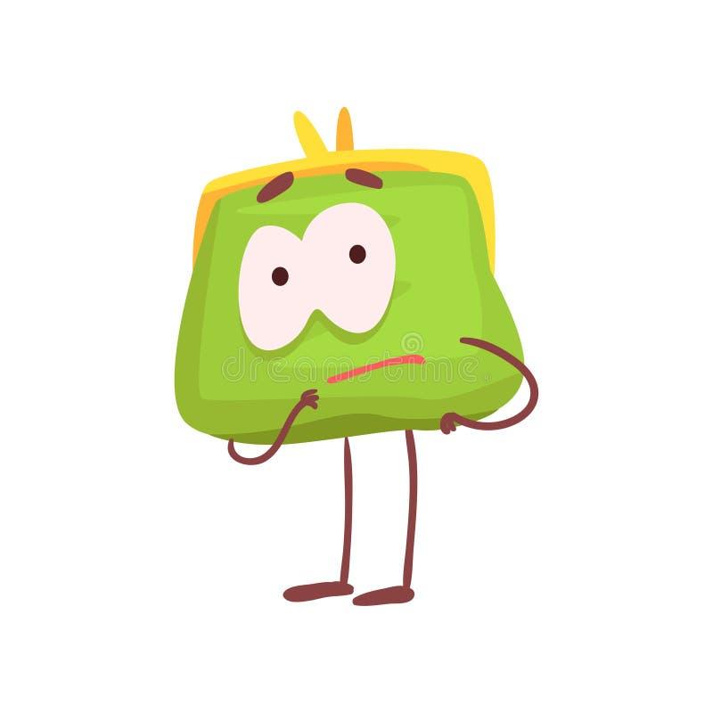 Χαριτωμένος στοχαστικός χαρακτήρας πορτοφολιών, αστεία πράσινη εξανθρωπισμένη διανυσματική απεικόνιση κινούμενων σχεδίων σακουλών ελεύθερη απεικόνιση δικαιώματος