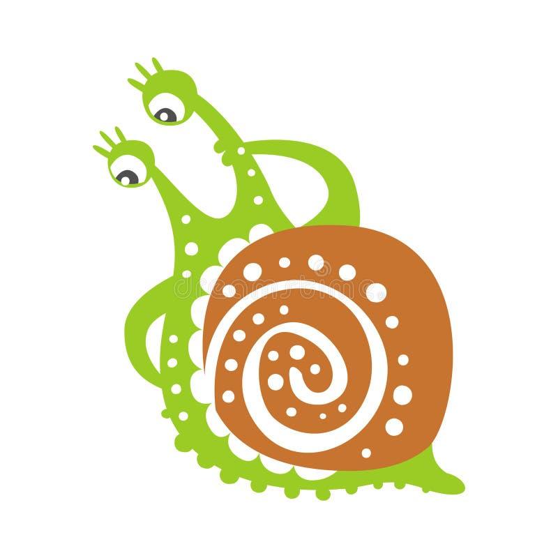 Χαριτωμένος στοχαστικός χαρακτήρας σαλιγκαριών, αστεία ζωηρόχρωμη συρμένη χέρι διανυσματική απεικόνιση μαλακίων απεικόνιση αποθεμάτων