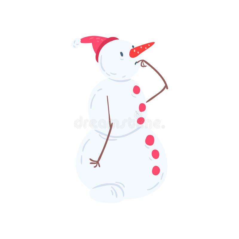 Χαριτωμένος στοχαστικός χαρακτήρας χιονανθρώπων, Χριστούγεννα και νέα απεικόνιση στοιχείων διακοσμήσεων διακοπών έτους διανυσματι διανυσματική απεικόνιση