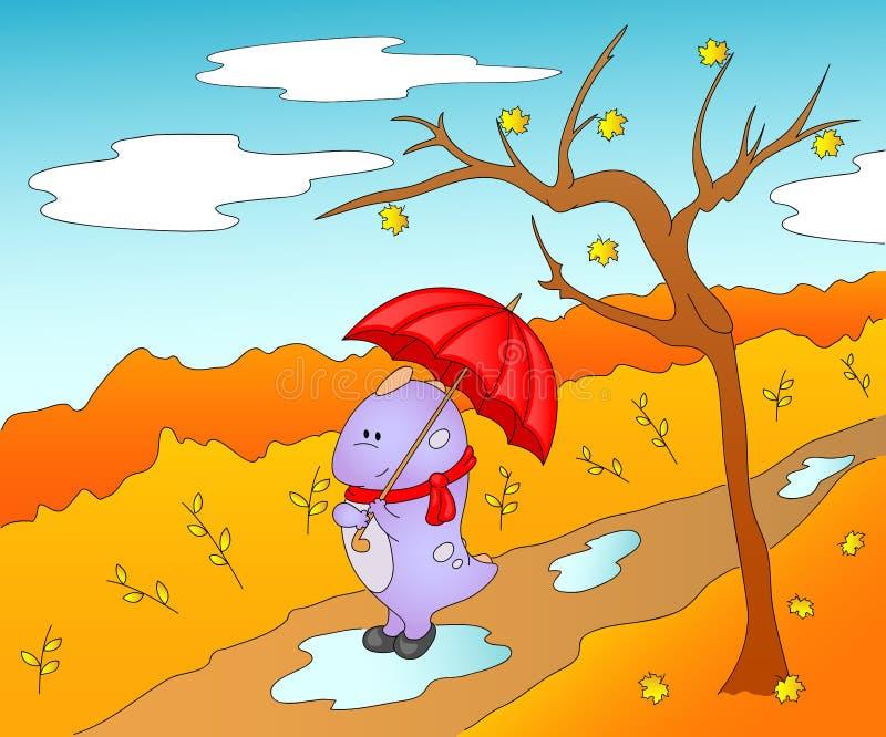 Χαριτωμένος φιλικός αλλοδαπός στις λαστιχένιες μπότες, μαντίλι και με την ομπρέλα μέσα διανυσματική απεικόνιση