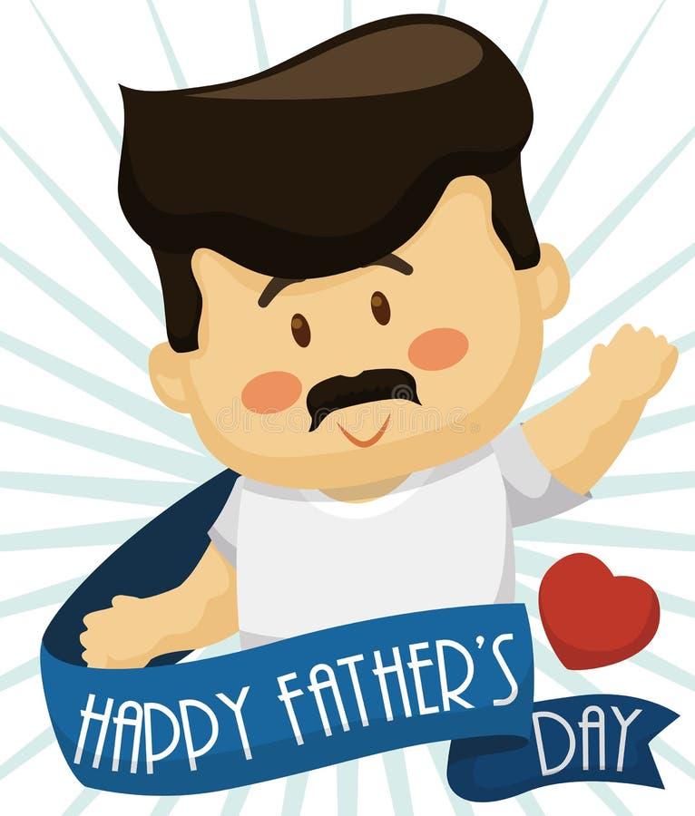 Χαριτωμένος χαιρετισμός μπαμπάδων πίσω από μια κορδέλλα στον εορτασμό ημέρας πατέρων ` s, διανυσματική απεικόνιση απεικόνιση αποθεμάτων