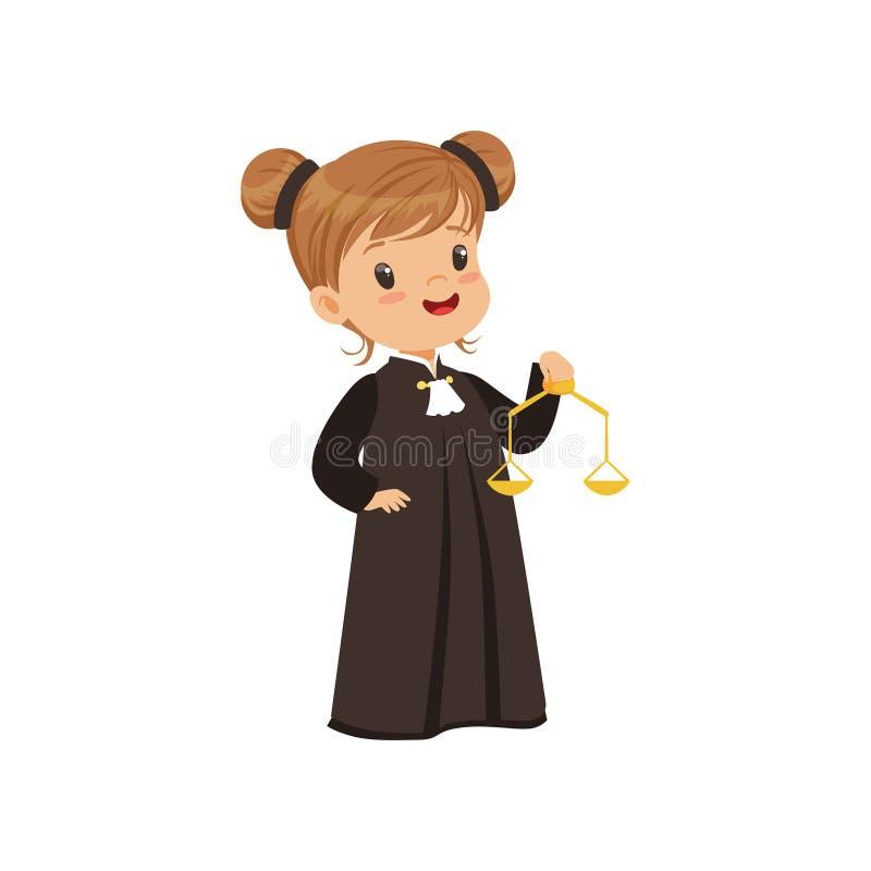Χαριτωμένος χαρακτήρας κινουμένων σχεδίων κοριτσιών δικαστών που κρατά τις χρυσές κλίμακες της διανυσματικής απεικόνισης δικαιοσύ διανυσματική απεικόνιση