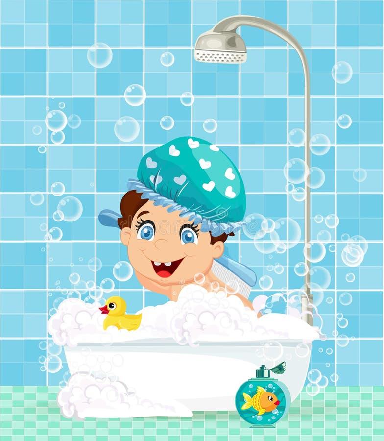 Χαριτωμένος χαρακτήρας κινουμένων σχεδίων μικρών παιδιών στην μπανιέρα με τον αφρό απεικόνιση αποθεμάτων