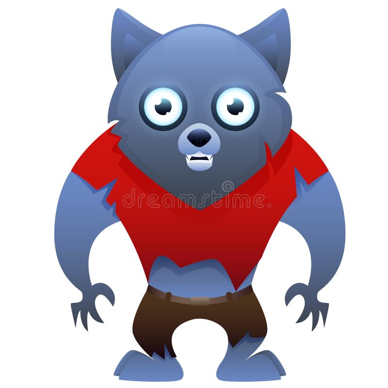Χαριτωμένος χαρακτήρας κινουμένων σχεδίων Werewolf απεικόνιση αποθεμάτων
