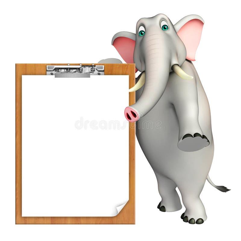 Χαριτωμένος χαρακτήρας κινουμένων σχεδίων ελεφάντων με το μαξιλάρι διαγωνισμών απεικόνιση αποθεμάτων
