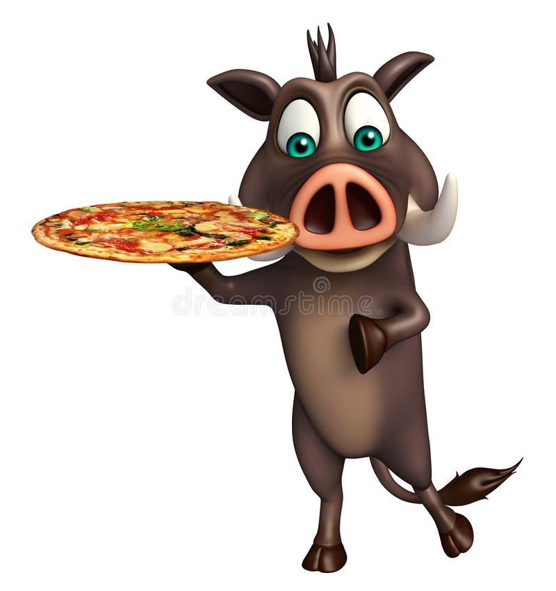 Χαριτωμένος χαρακτήρας κινουμένων σχεδίων κάπρων με την πίτσα ελεύθερη απεικόνιση δικαιώματος