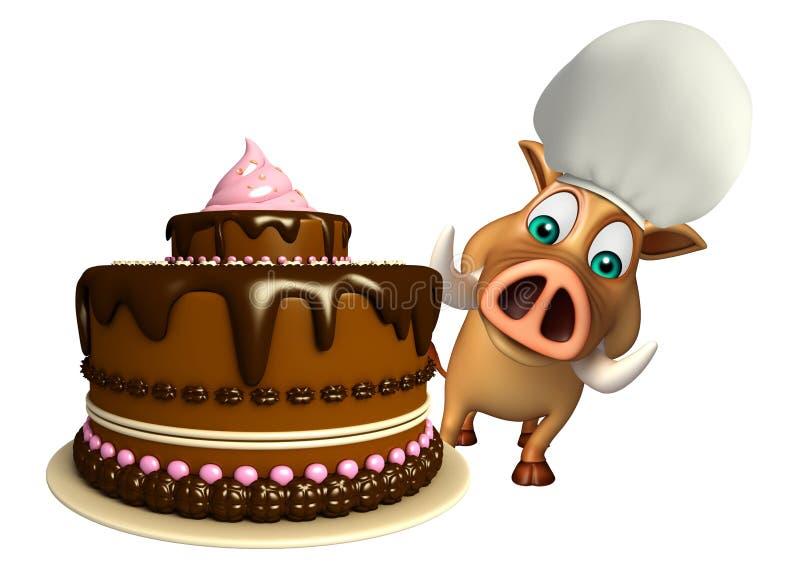 Χαριτωμένος χαρακτήρας κινουμένων σχεδίων κάπρων με το κέικ διανυσματική απεικόνιση