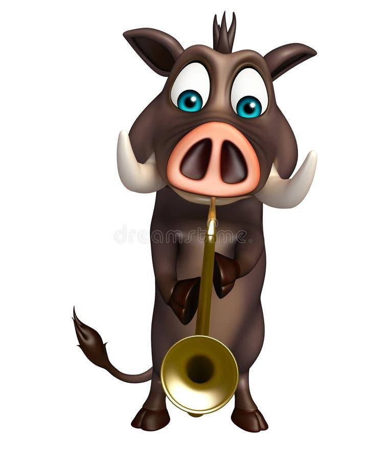 Χαριτωμένος χαρακτήρας κινουμένων σχεδίων κάπρων με το saxophone απεικόνιση αποθεμάτων