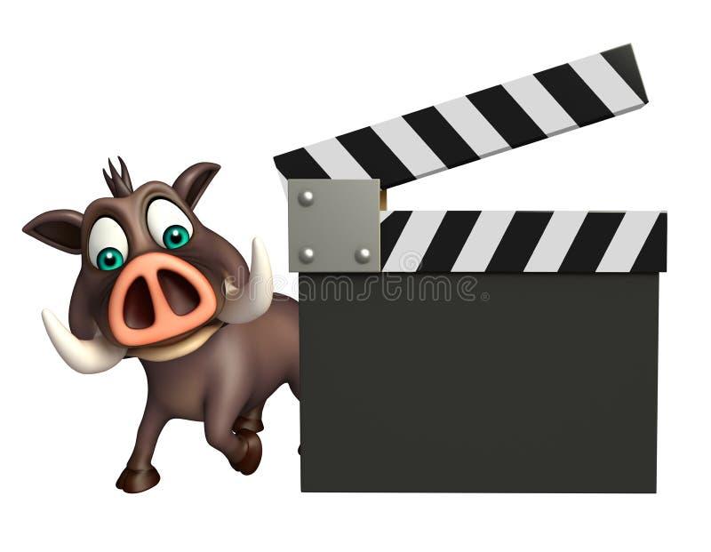 Χαριτωμένος χαρακτήρας κινουμένων σχεδίων κάπρων με clapper τον πίνακα διανυσματική απεικόνιση