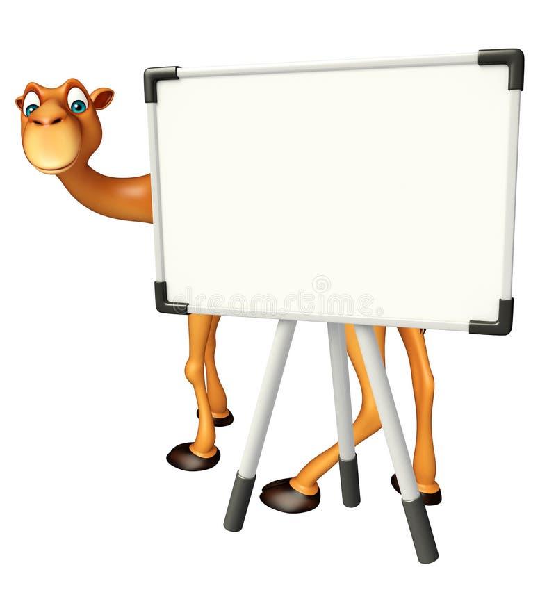 Χαριτωμένος χαρακτήρας κινουμένων σχεδίων καμηλών με το λευκό πίνακα απεικόνιση αποθεμάτων