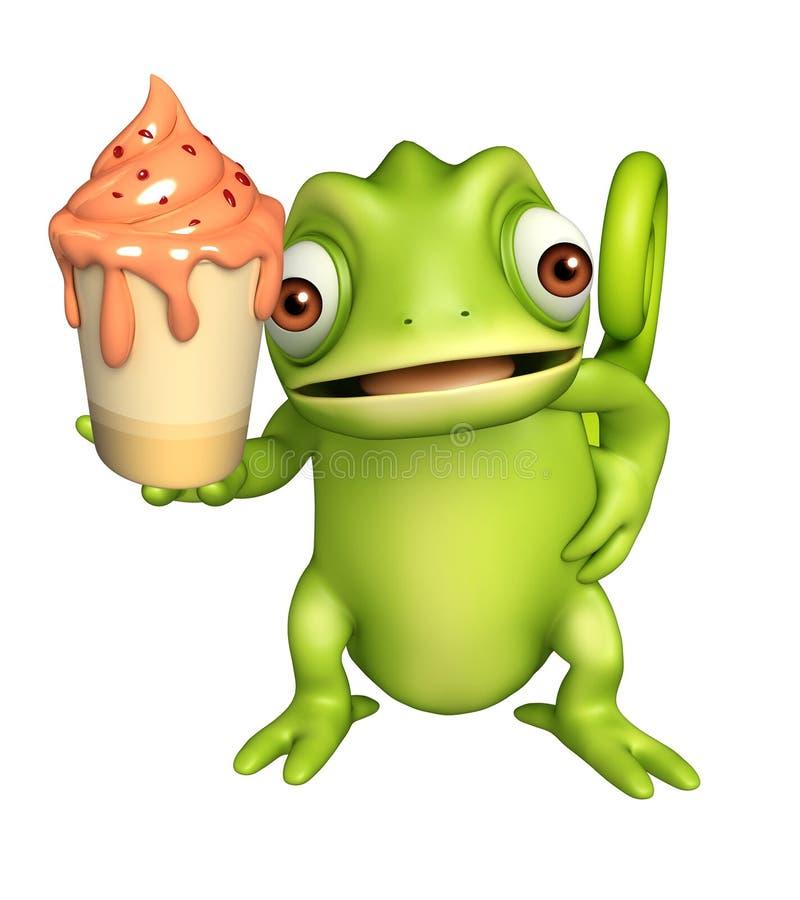 Χαριτωμένος χαρακτήρας κινουμένων σχεδίων χαμαιλεόντων με το παγωτό απεικόνιση αποθεμάτων
