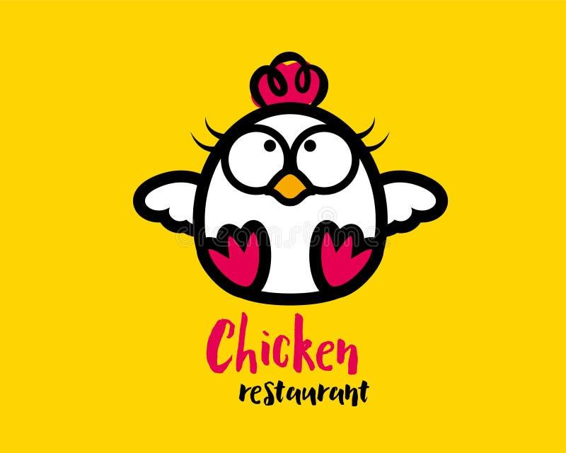 Χαριτωμένος χαρακτήρας μασκότ κοτόπουλου για το εστιατόριο τροφίμων - διανυσματικό λογότυπο ελεύθερη απεικόνιση δικαιώματος