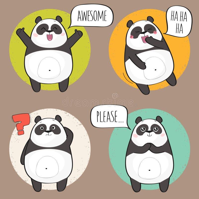 Χαριτωμένος χαρακτήρας της Panda με τις διαφορετικές συγκινήσεις διανυσματική απεικόνιση