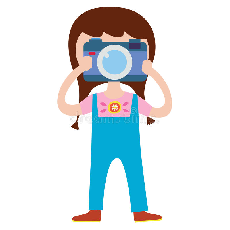 Χαριτωμένος χαρακτήρας φωτογράφων κοριτσιών διανυσματική απεικόνιση