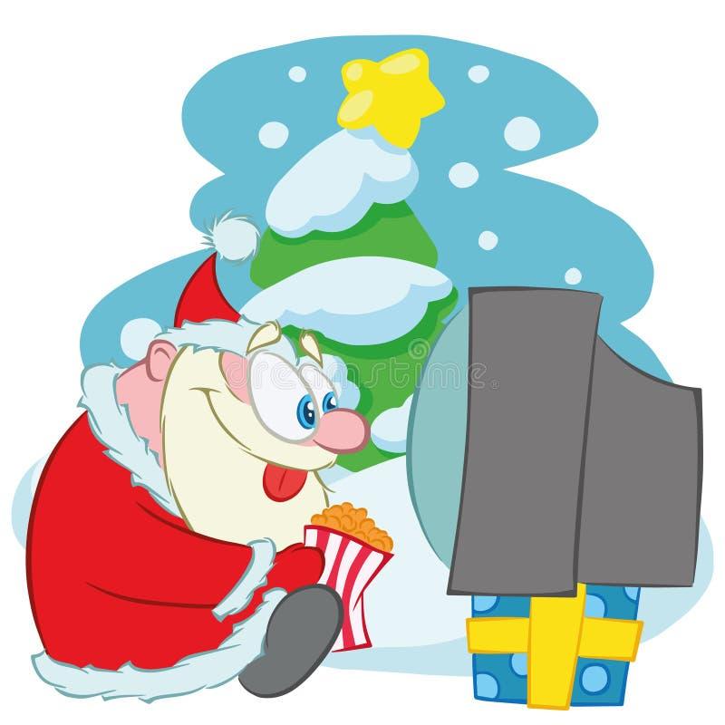 Χαριτωμένος χαρακτήρας Χριστουγέννων Άγιου Βασίλη Το Santa Calus προσέχει τη TV και τρώει popcorn διανυσματική απεικόνιση